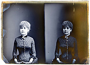 two exposure studio portrait of woman on a glass plate France early 1900s