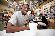 UNC student Ed Baldwin enjoys a counter lunch at Sutton's Drugstore.