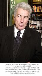 Writer KEN FOLLETT at a reception in London on 21st March 2001.OMJ 42