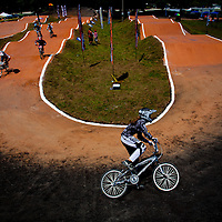 SARASOTA, FL -- April 23, 2011 -- BMX riders take to the course during the National Bicycle League (NBL) Easter Classic in Sarasota, Fla., on Saturday, April 23.  Sarasota County Parks and Recreation and the Sarasota Convention and Visitors Bureau sponsored the event which drew over 1,000 riders and their fans to the area this weekend.  (PHOTO / CHIP LITHERLAND)