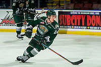 KELOWNA, CANADA - JANUARY 9:  Gianni Fairbrother #24 of the Everett Silvertips warms up against the Kelowna Rockets on January 9, 2019 at Prospera Place in Kelowna, British Columbia, Canada.  (Photo by Marissa Baecker/Shoot the Breeze)