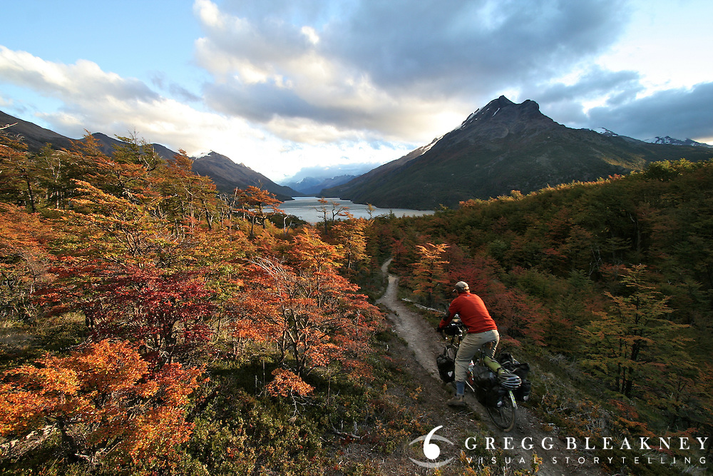 Gregg Bleakney crosses into Argentina from Chile above Lago del Desierto at the southernmost section of the Ruta Austral - Patagonia - South America