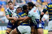 The Warriors make a big tackle. Parramatta Eels v Vodafone Warriors. NRL Rugby League. Bankwest Stadium, Sydney, Australia. 27th July 2019. Copyright Photo: David Neilson / www.photosport.nz