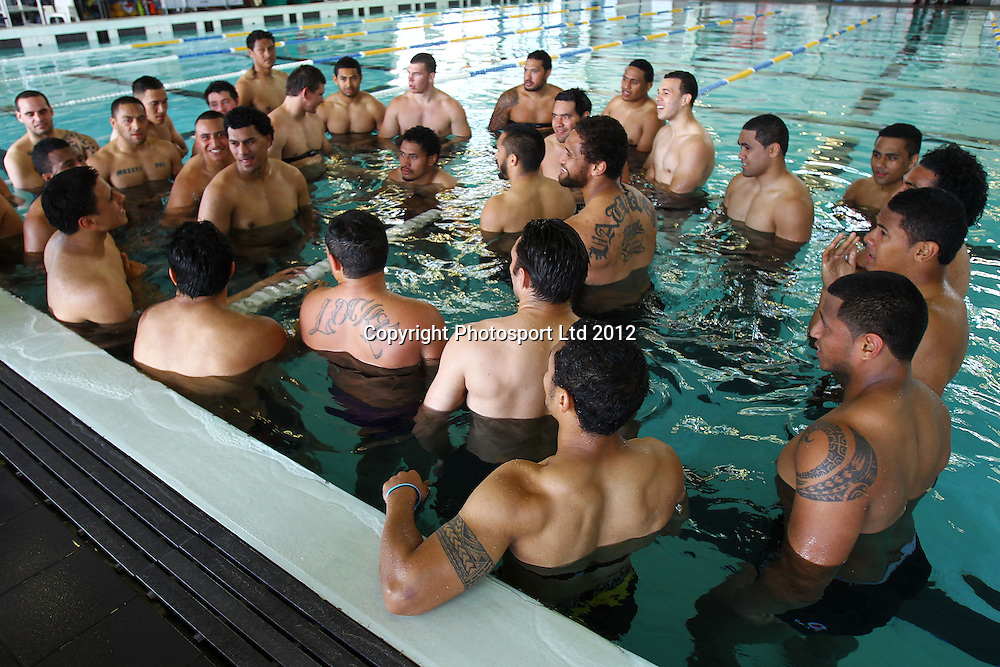 Pool recovery session, The Vodafone Warriors begin their training ahead of the 2013 NRL rugby league season. Millennium Institute of Sport and Health, Albany, Auckland. 5 November 2012. Photo: William Booth/photosport.co.nz