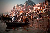 Varanasi hindu pilgrims washing in the holi Ganges river, India Image by Andres Morya