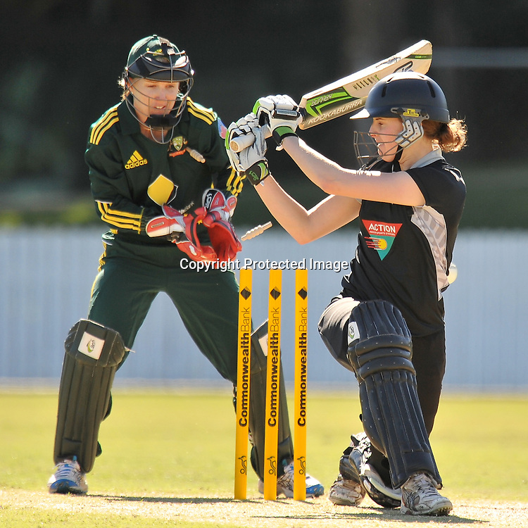Amy Satterthwaite is clean bowled by the Aussie Spinner Shelley Nitschke during action in Game 6 (ODI) of the Rose Bowl Trophy Cricket played between Australia and New Zealand at Alan Border Field in Brisbane (Australia) ~ Monday 14May 2011 ~ Photo : Steven Hight (AURA Images) / Photosport