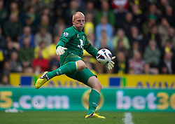NORWICH, ENGLAND - Saturday, September 29, 2012: Norwich City's goalkeeper John Ruddy in action against Liverpool during the Premiership match at Carrow Road. (Pic by David Rawcliffe/Propaganda)