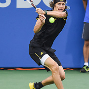 ALEXANDER ZVEREV hits a backhand during his second round match at the Citi Open at the Rock Creek Park Tennis Center in Washington, D.C.