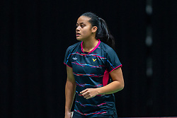 Alyssa Tirtosentono in action during the Dutch Championships Badminton on February 2, 2020 in Topsporthal Almere, Netherlands