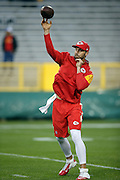 Kansas City Chiefs quarterback Alex Smith (11) throws a pass while warming up before the 2015 NFL week 3 regular season football game against the Green Bay Packers on Monday, Sept. 28, 2015 in Green Bay, Wis. The Packers won the game 38-28. (©Paul Anthony Spinelli)