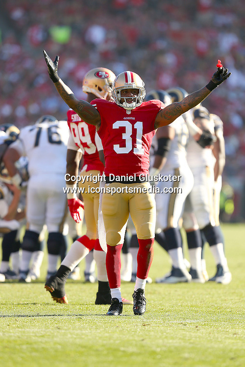 01 December 2013: Niners cornerback Donte Whitner during action in an NFL game against the St. Louis Rams at Candlestick Park in San Francisco, CA. The 49ers won 23-13.