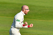 Wicket - Jack Leach of Somerset celebrates taking the wicket of Liam Livingstone of Lancashire during the Specsavers County Champ Div 1 match between Somerset County Cricket Club and Lancashire County Cricket Club at the Cooper Associates County Ground, Taunton, United Kingdom on 14 September 2017. Photo by Graham Hunt.