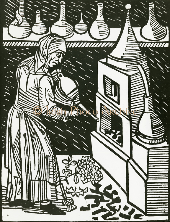 'Female operator applying bellows to the furnace during distillation.  Woodcut, 1514.'