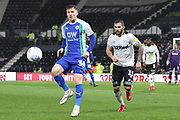 Wigan Athletic midfielder Lee Evans on the ball during the EFL Sky Bet Championship match between Derby County and Wigan Athletic at the Pride Park, Derby, England on 5 March 2019.