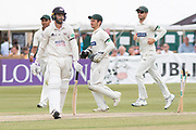 WICKET - Jack Taylor is bowled on 99 during the Specsavers County Champ Div 2 match between Gloucestershire County Cricket Club and Leicestershire County Cricket Club at the Cheltenham College Ground, Cheltenham, United Kingdom on 17 July 2019.