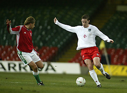 CARDIFF, WALES - WEDNESDAY FEBRUARY 9th 2005: Wales' David Partridge in action against Hungary during the International Friendly match at the Millennium Stadium. (Pic by Jason Cairnduff/Propaganda)