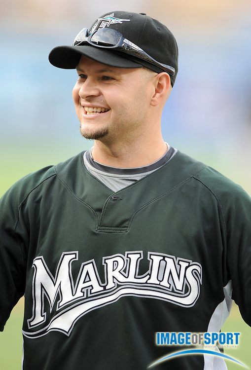 Jul 11, 2008; Los Angeles, CA, USA; Florida Marlins outfielder Cody Ross (12)during batting practice before game at Dodger Stadium.