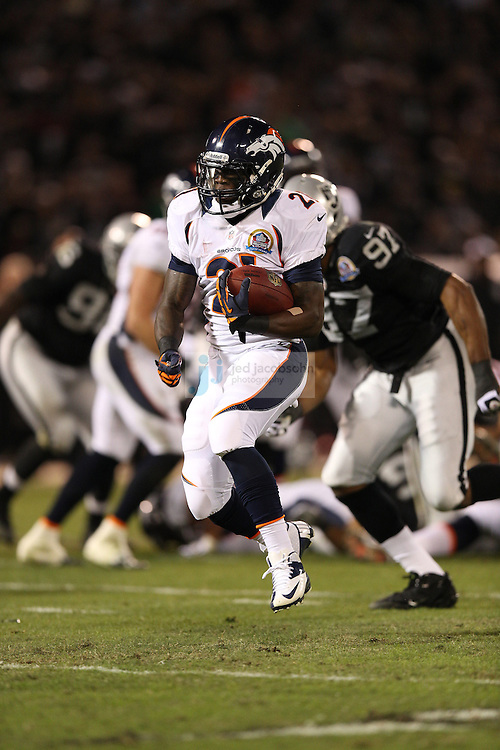 Denver Broncos running back Ronnie Hillman (21) in action against the Oakland Raiders during an NFL game on Sunday, December 6, 2012 at the Oakland Coliseum in Oakland, Ca.  (photo by Jed Jacobsohn)