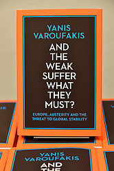 "© Licensed to London News Pictures. 05/04/2016. Former finance minister YANIS VAROUFAKIS signs copies his new book ""And The Weak Must Suffer What They Must?"" at Foyles bookstore on a visit to the UK. London, UK. Photo credit: Ray Tang/LNP"
