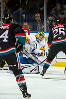 KELOWNA, BC - DECEMBER 01: Nolan Maier #73 of the Saskatoon Blades makes a save against the Kelowna Rockets  at Prospera Place on December 1, 2018 in Kelowna, Canada. (Photo by Marissa Baecker/Getty Images)