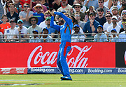 Wicket - Mujeeb Ur Rahman of Afghanistan catches Aaron Finch of Australia off the bowling of Gulbadin Naib (c) of Afghanistan during the ICC Cricket World Cup 2019 match between Afghanistan and Australia at the Bristol County Ground, Bristol, United Kingdom on 1 June 2019.
