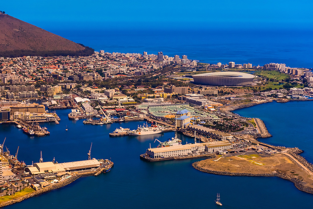 Aerial view of Table Bay Harbour with Signal Hill in background, Cape Town,  South Africa.