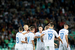 Players of Slovenia celebrate goal during football match between National teams of Slovenia and Bulgaria in Group stage of UEFA National League, on September 6, 2018 in SRC Stozice, Ljubljana, Slovenia. Photo by Urban Urbanc / Sportida