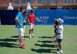 Gregor Krusic, Aljaz Bedene of Slovenia and Blaz Rola of Slovenia at Kids day during Day Five of tennis tournament ATP Challenger Tilia Slovenia Open 2013 on July 6, 2013 in SRC Marina, Portoroz / Portorose, Slovenia. (Photo by Vid Ponikvar / Sportida.com)