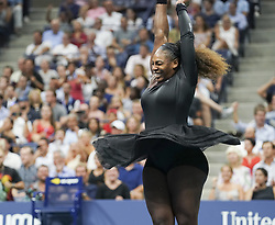 September 4, 2018 - New York, New York, United States - Serena Williams celebrates victory in US Open 2018 quarterfinal match against Karolina Pliskova of Czech Republic at USTA Billie Jean King National Tennis Center (Credit Image: © Lev Radin/Pacific Press via ZUMA Wire)
