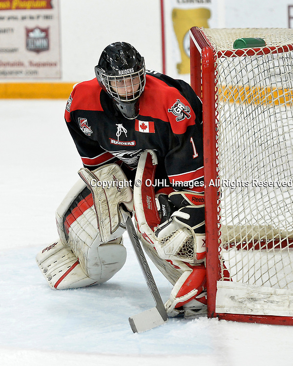 TRENTON, ON  - APR 15,  2017: Ontario Junior Hockey League, Championship Series.  Georgetown Raiders vs the Trenton Golden Hawks in Game 2 of the Buckland Cup Final.  Josh Astorino #1 of the Georgetown Raiders follows the play during the first period.<br /> (Photo by Shawn Muir / OJHL Images)