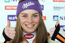 Tina Maze at press conference after she won silver medal in Giant Slalom at Ski World Championships Val d'Isere 2009, on February 16, 2009, in Hotel Larix, Kranjska Gora, Slovenia. (Photo by Vid Ponikvar / Sportida)