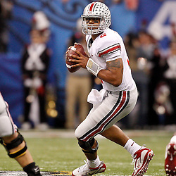 January 4, 2011; New Orleans, LA, USA;  Ohio State Buckeyes quarterback Terrelle Pryor (2) looks to throw during the second quarter of the 2011 Sugar Bowl against the Arkansas Razorbacks at the Louisiana Superdome.  Mandatory Credit: Derick E. Hingle