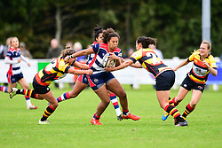 Rownita Marston of Bristol Ladies is tackled by Jade Wong of Richmond ladies and Alicia McCormish - Mandatory by-line: Craig Thomas/JMP - 17/09/2017 - Rugby - Cleve Rugby Ground  - Bristol, England - Bristol Ladies  v Richmond Ladies - Women's Premier 15s