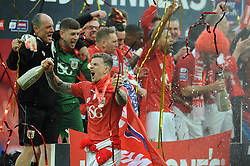 Bristol City's Aden Flint celebrates winning the Johnstone Paint Trophy - Photo mandatory by-line: Dougie Allward/JMP - Mobile: 07966 386802 - 22/03/2015 - SPORT - Football - London - Wembley Stadium - Bristol City v Walsall - Johnstone Paint Trophy Final