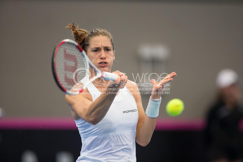 Andrea Petkovic (GER), April 19, 2014 - TENNIS : Fed Cup, Semi-Final, Australia v Germany. Pat Rafter Arena, Brisbane, Queensland, Australia. Credit: Lucas Wroe
