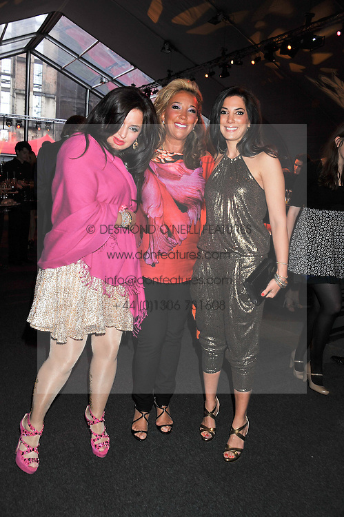 Centre, DENISE RICH and her daughters, left ILONA RICH SCHACHTER and right DANIELLA RICH KILSTOCK HOST at the inaugural Gabrielle's Gala in London in aid of Gabrielle's Angel Foundation for Cancer Research held at Battersea Power Station, London on 7th June 2012.