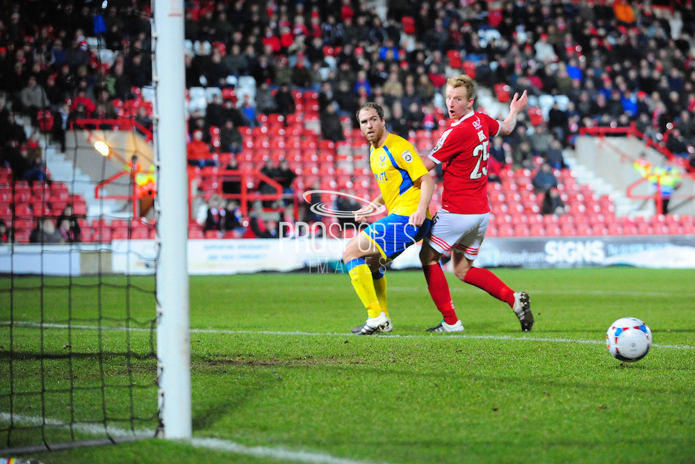 Mark Beck of Wrexham (on loan from Yeovil Town) goes close during the Vanarama National League match between Wrexham AFC and Kidderminster Harriers at the Glyndŵr University Racecourse Stadium, Wrexham, United Kingdom on 23 February 2016. Photo by Mike Sheridan.
