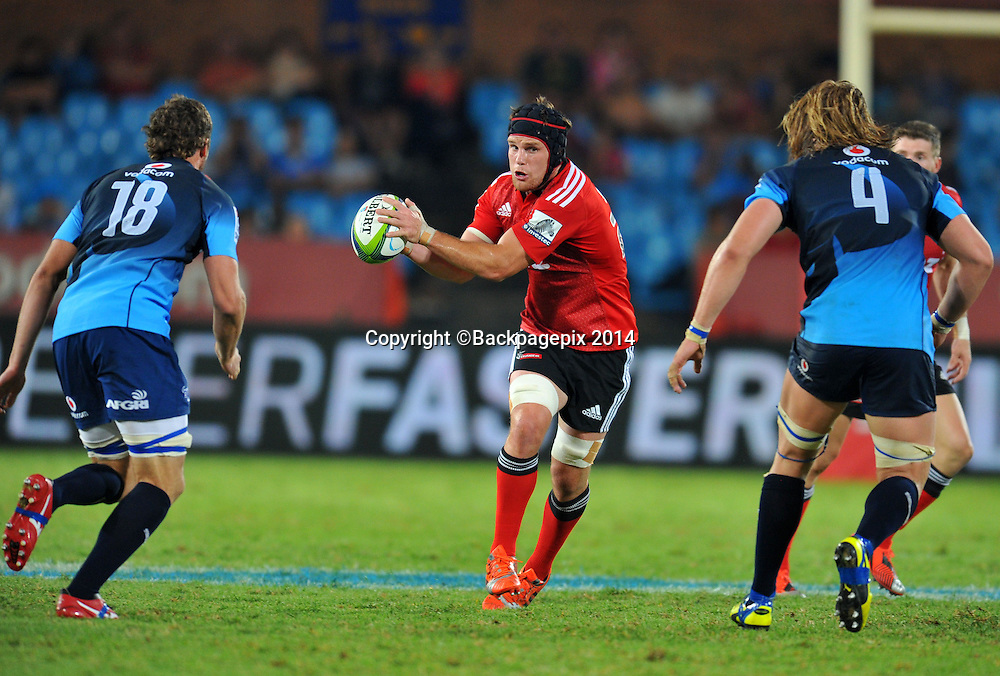 Matt Todd of the Crusaders during the 2015 Super Rugby rugby match between the Bulls and the Crusaders at the Loftus Versfeld Stadium in Pretoria, South Africa on March 28, 2015 ©Samuel Shivambu/BackpagePix