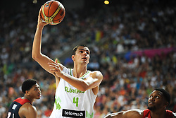 Jure Balazic of Slovenia during basketball match between National Teams of Slovenia and USA in Quarterfinals of FIBA Basketball World Cup Spain 2014, on September 9, 2014 in Palau Sant Jordi, Barcelona, Spain. Photo by Tom Luksys  / Sportida.com <br /> ONLY FOR Slovenia, France