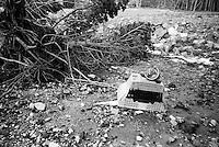 Uvisst hvorfor en tv og et spillratt havnet her, kanskje offer for en dårlig taper?<br /> Foto: Svein Ove Ekornesvåg