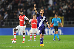 Anderlecht's Dennis Praet celebrates his side's goal - Photo mandatory by-line: Dougie Allward/JMP - Mobile: 07966 386802 - 22/10/2014 - SPORT - Football - Anderlecht - Constant Vanden Stockstadion - R.S.C. Anderlecht v Arsenal - UEFA Champions League - Group D