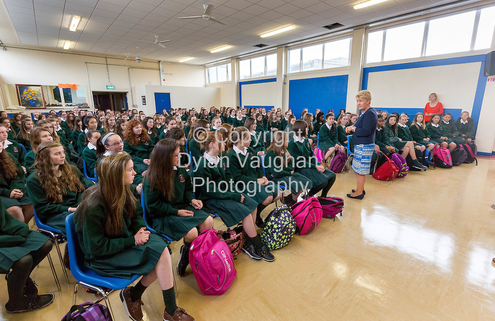 25-8-15<br /> <br /> Clare Ryan (principal) pictured speaking to 1st years on their first day at Leo's College in Carlow.<br /> <br /> Picture Dylan Vaughan