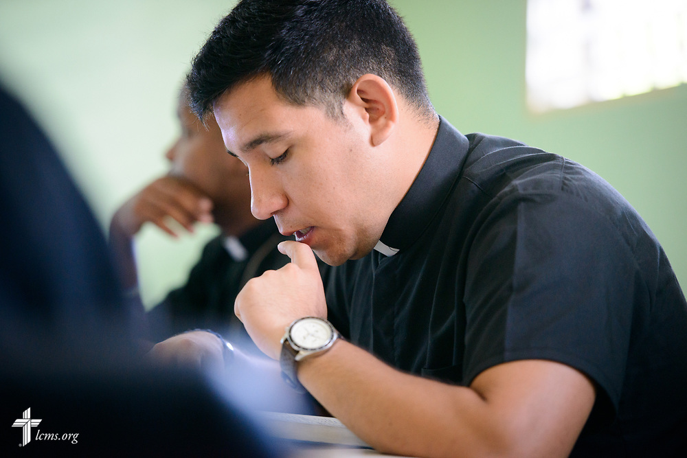 Seminarian Neftali Garcia listens during class at the Concordia Reformer Lutheran Seminary and Mercy Center in Palmar Arriba, Dominican Republic, on Wednesday, Oct. 18, 2017. LCMS Communications/Erik M. Lunsford