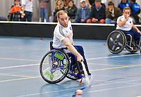 BREDA - Paragames 2011 Breda, Bas Akkerman zaterdag tijdens  de interland Nederland-Duitsland  bij het 4-landentoernooi Wheelchair Floorball Hockey, het  Nederlands handvoortbewogen rolstoelhockeyteam.  ANP COPYRIGHT KOEN SUYK