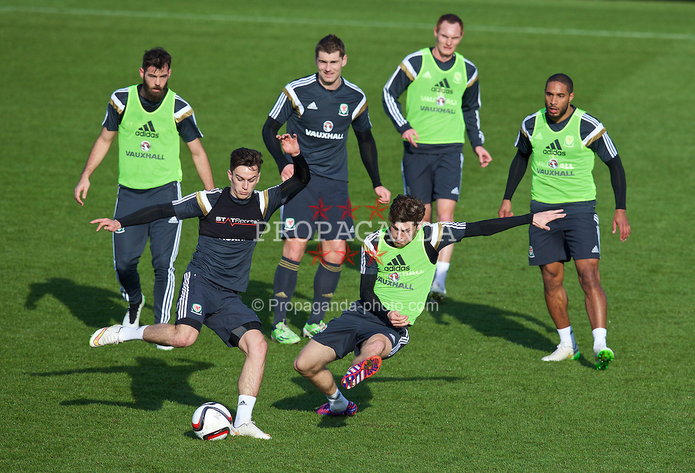 CARDIFF, WALES - Tuesday, March 24, 2015: Wales' Tom Lawrence and Ben Davies during a training session at the Vale of Glamorgan ahead of the UEFA Euro 2016 qualifying Group B match against Israel. (Pic by David Rawcliffe/Propaganda)