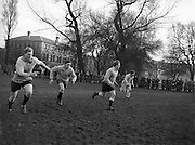 Irish Rugby Football Union, Ireland v England, Five Nations, English team practice at College Park, Dublin, Ireland, Friday 11th February, 1955,.11.2.1955, 2.11.1955,..Referee- Mr A I Dickie, Scottish Rugby Union,..Score- Ireland 6 - 6 England, ..Irish Team,..W R Tector, Wearing number 15 Irish jersey, Full Back, Wanderers Rugby Football Club, Dublin, Ireland, ..A C Pedlow, Wearing number 14 Irish jersey, Right wing, Queens University Rugby Football Club, Belfast, Northern Ireland,..N J Henderson, Wearing number 13 Irish jersey, Right centre, N.I.F.C, Rugby Football Club, Belfast, Northern Ireland,..A J O'Reilly, Wearing number 12 Irish jersey, Left Centre, Old Belvedere Rugby Football Club, Dublin, Ireland,..J T Gaston, Wearing number 11 Irish jersey, Left wing, Dublin University Rugby Football Club, Dublin, Ireland, ..J W Kyle, Wearing number 10 Irish jersey, Outside Half, N.I.F.C, Rugby Football Club, Belfast, Northern Ireland,..J A O'Meara, Wearing number 9 Irish jersey, Scrum, Dolphin Rugby Football Club, Cork, Ireland, ..F E Anderson, Wearing number 1 Irish jersey, Forward, N.I.F.C, Rugby Football Club, Belfast, Northern Ireland,..R Roe, Wearing number 2 Irish jersey, Forward,  Landsdowne Rugby Football Club, Dublin, Ireland, ..P J O'Donoghue, Wearing  Number 3 Irish jersey, Forward, Bective Rangers Rugby Football Club, Dublin, Ireland,  ..M N Madden, Wearing number 4 Irish jersey, Forward, Sundays Well Rugby Football Club, Cork, Ireland,..T E Reid, Wearing number 5 Irish jersey, Forward, Garryowen Rugby Football Club, Limerick, Ireland, and, London Irish Rugby Football Club, Surrey, England, ..M J Cunningham,  Wearing number 6 Irish jersey, Forward, University college Cork Rugby Football Club, Cork, Ireland,  ..J R Kavanagh, Wearing number 7 Irish jersey, Forward, Wanderers Rugby Football Club, Dublin, Ireland, ..J S McCarthy, Wearing number 8 Irish jersey, Captain of the Irish team, Forward, Dolphin Rugby Football Club, Cork, Ireland, ..English Team, ..N M H