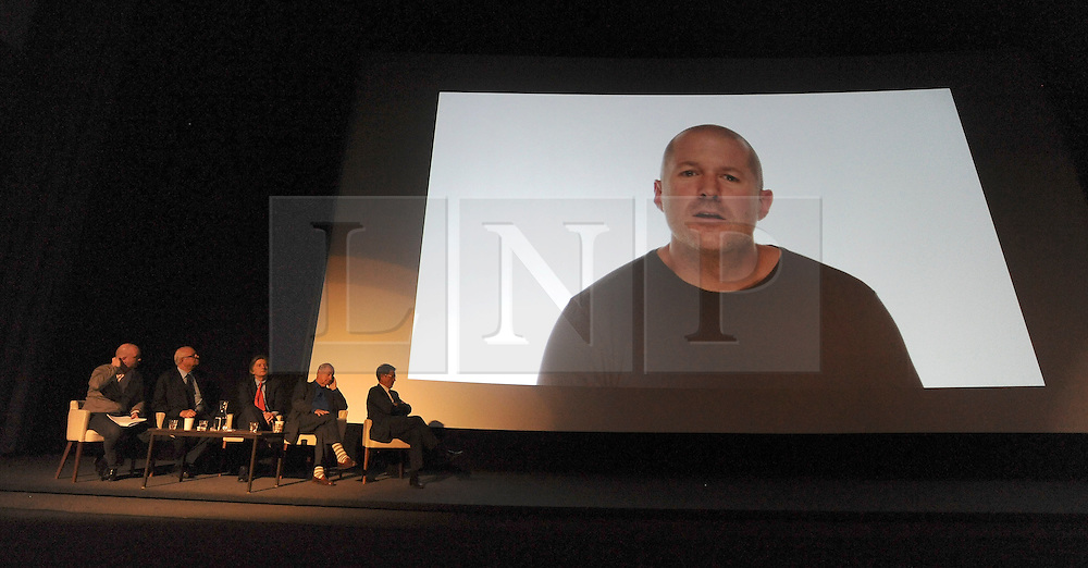 © Licensed to London News Pictures. 24/01/2012, London, UK. London-born designer Jonathan Ive  the senior vice president of Industrial Design at Apple talks to the media on a large screen about the influence the Design Museum has had on him. The Design Museum in London today unveiled plans to create a new Museum of Design and Architecture. The museum will be housed in The former 1960's abandoned building of The Commonwealth Institute in High Street Kensington, London. The 80million GBP refit by architect John Pawson will open to the public in 2014.  Photo credit : Stephen Simpson/LNP