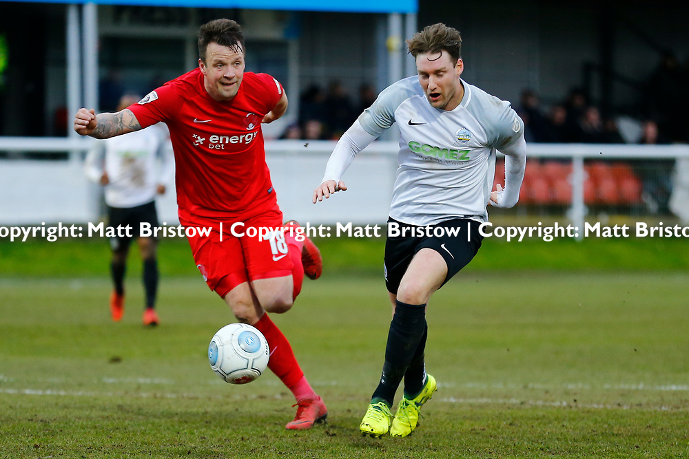 Leyton Orient's defender Josh Coulson rushes to keep the ball away from Dover's forward Ryan Bird during the The FA Trophy match between Dover Athletic and Leyton Orient at Crabble Stadium, Kent on 3 February 2018. Photo by Matt Bristow.