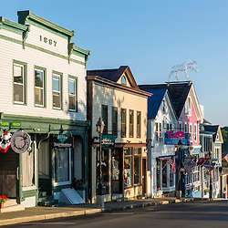 Main Street in Bar Harbor, Maine. Near Acadia National Park.