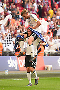 Fulham defender Tim Ream (13) and Fulham defender Tomas Kalas (26) celebrate during the EFL Sky Bet Championship play-off final match between Fulham and Aston Villa at Wembley Stadium, London, England on 26 May 2018. Picture by Jon Hobley.
